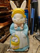 Vintage Large 34 Empire Easter Rabbit Bunny W/ Eggs Plastic Lighted Blow Mold