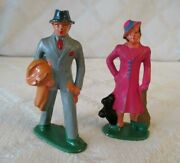 2- Vintage Lead Toy Figures- Man W Coat- Lady W Dog- Manoil-barclay-3-org Paint