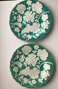 Davenport China 1851 - Teal With Raised White Flowers Vintage -england 2