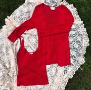 Red Knit Bebe Cami And Sweater Set