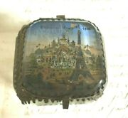 Antique French Glass Silk Lined Eiffel Tower Jewelry Box Exposition Paris 1900