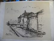 Ink Chinese On Tracing Paper Farm Castle Barn Of Mercier André Simon 1926-2014