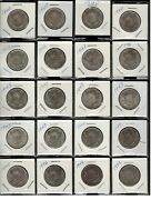 20 Canada Half Dollar Fifty 50 Cent Silver .800 Coins - 1940and039s