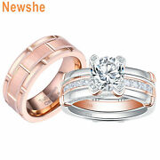 Newshe Wedding Ring Sets For Him Her Sterling Silver Cz Titanium Band Rose Gold