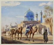 Yervand Nahapetian Iranian 1916-2006 Camels In Front Of The Blue Mosque