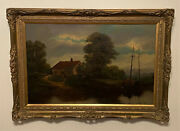 Antique English Landscape Oil On Canvas Painting - Countryside Boat Farm House