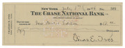 Charles Ives Signed Check To New Music Edition Composer Autograph