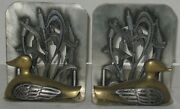 Vtg Metzke Silvertone Metal And Brass Duck Marsh Bookends Book Ends Great Patina