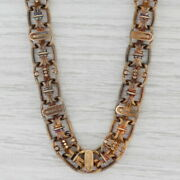Antique Handmade Victorian Link Necklace 18k Yellow Gold 19.5 11.7mm
