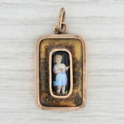 Antique Figural Pendant 14k Gold Hand Painted Porcelain 1800s Jewelry Charm Fob