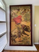 Large Vintage 1918 Painted Spanish Bullfight Poster. Beautiful Colors. Andnbsp