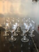 Antique Etched And Cut Crystal Stemware From 19th Century 16 Pieces 2 Missing