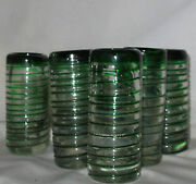 Antique Glass Cordials Set Of Six Threaded Metal Stand