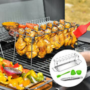 Chicken Legs Wing Rack Holder Bbq Grill Stand With Drip Pan Picnic Party