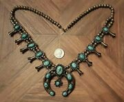 Vintage Navajo Indian Squash Blossom Necklace Dry Creek Turquoise Sterling 175g