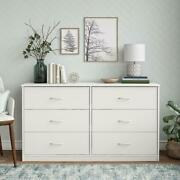 Classic 6 Drawer Dresser Bedroom Storage Large Top Surface Cabinet White Finish