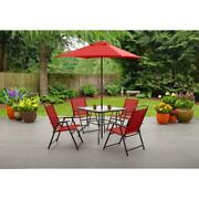 Patio Dining Set 6pcs Garden Furniture Outdoor Bistro Table Chairs Umbrella, Red