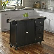 Stainless Steel Top Black Kitchen Island Cart Rolling Utility Wood Cabinet Rack