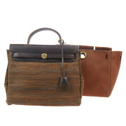 Hermes Herbag Pm 2 In 1 2way Hand Bag C□g Brown Vibrato Canvas 82538