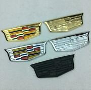For 2pcs For Cadillac Black Fender Trunk Boot Stickers Emblems Badges Decals