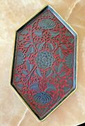 Antigue 20th Century Carved Cinnabar Lacquer Tray Black And Red Top And Rare