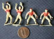 1940-50s Era Set Of 4 Plastic Figural Baseball Players-like Toy Soldiers-four