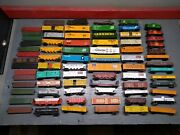 Huge Lot Of 75 Ho Scale Train Box Cars Flat Cars And Cabooses