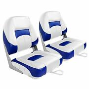 Leader Accessories New Low Back Folding Boat Seat White/blue 2 Seats New ....