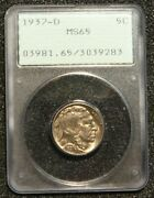 1937-d Buffalo Nickel Coin Pcgs Ms65 Ogh Old Green Holder