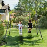 2 In 1 Metal Swing Set For Backyard, Heavy Duty A-frame, Height Adjustment