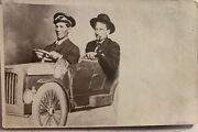 Antique Postcard Old Car With Two Men Vintage Collectible 1907