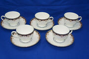 Wedgwood Medici R4588 5 Cups 2 5/8 And 5 Saucers 5 3/4