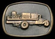Oh16111 Great Vintage 1981 Dowell Pump Truck Solid Brass Oilfield Buckle