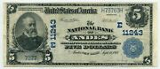Fr. 606 1902 Pb 5 Ch 11243 National Bank Note Andies New York Vf