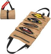 Waxed Canvas Tool Roll Bag, Multi-purpose Tool Organize Bag With 5 Zipper Pocket