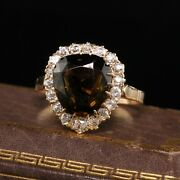 Antique Victorian 18k Yellow Gold Tourmaline And Diamond Engagement Ring