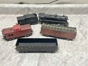 Vintage Marx O Gauge 999 Locomotive W/solid Pilot, Tin Tender And 3 Freight Cars 1