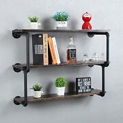 Industrial Pipe Shelves With Wood,3-tiers Rustic Wall Mount Shelf 36 Black