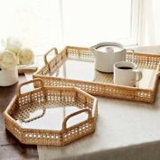 Woven Rattan Serving Tray Decorative Handmade Polygonal Storage Tray With Handle