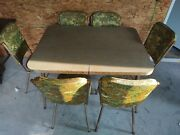 Vintage Retro Formica Top Kitchen Table With 6 Chairs And Leaf