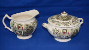Johnson Brothers Merry Christmas Creamer 3 1/4 And Sugar Bowl 2 3/4 With Lid
