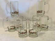8 Vintage Arbyand039s Libbey Holly Berry Gold Rim Holiday Beer Mugs Glasses