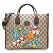 Donald Duck Tote Bag Women 's Gg Canvas Leather Beige