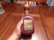 Vtg Leather Wrapped Decanter With Dog Hunting Scene Made In Italy