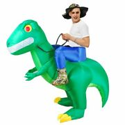 Inflatable Dinosaur Costumes Green Halloween Ride On Walking Blow Up Kids Adult