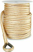 1/2 X 150and039 Nylon Anchor Line Double Braid With Stainless Steel Thimble Thimble