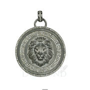 Natural Diamond Lion Face Coin Pendant 925 Sterling Silver Jewelry, 45mm