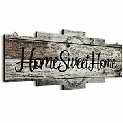 Home Sweet Home Sign, Rustic Wood Home Wall Decor, Large Farmhouse Home Gray