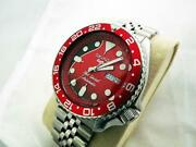 Seiko 'red Special' 7s26-0020 Diver Skx007 Custom / Mod Automatic, Day/date