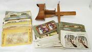 Old Antique Wooden Hand Held Stereoviewer W/ 126 Assorted Stereoview Cards